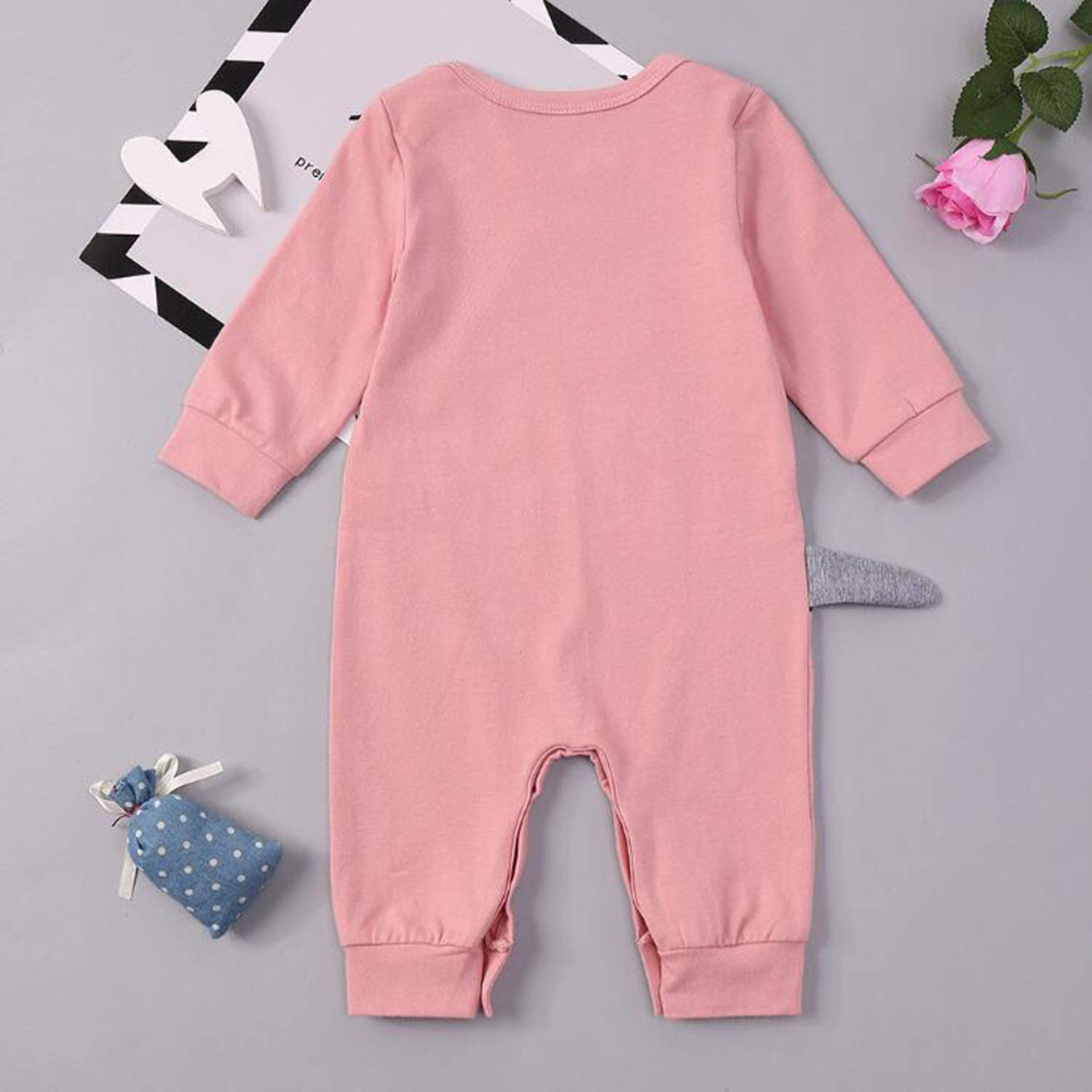 FIZUOXVE Baby Boy Girl Adorable Dinosaur Long Sleeve Jumpsuit Romper Cotton Outfit Clothes