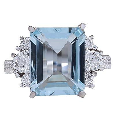 83f10b4be 4.91 Carat Natural Blue Aquamarine and Diamond (F-G Color, VS1-VS2 Clarity)