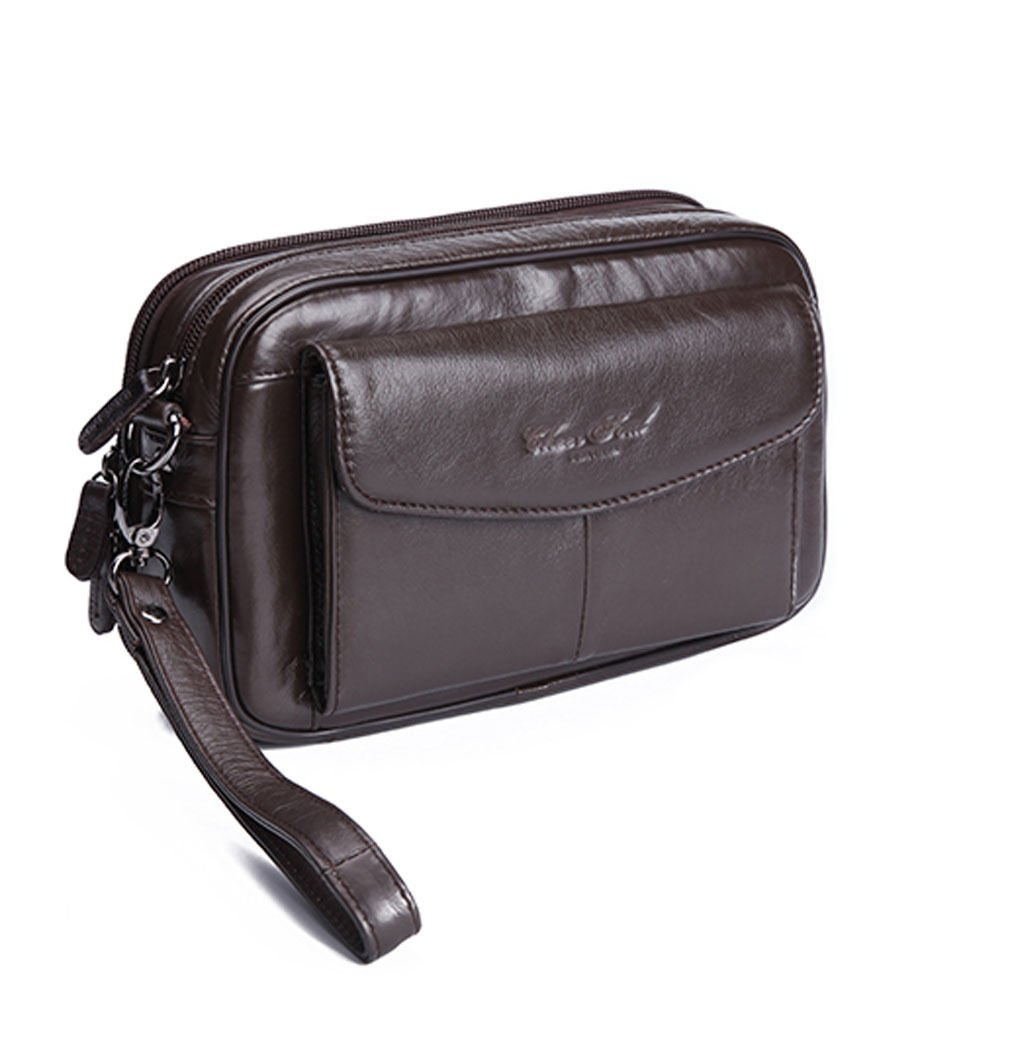 Men's Business Genuine Leather Clutch Bag Wrist Bag Tote Bag Mobile Phone Wallet Coffee