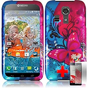 Kyocera Icon - 2 Piece Snap On Rubberized Image Case Cover, Red Blue Butterfly Rose Pattern + SCREEN PROTECTOR
