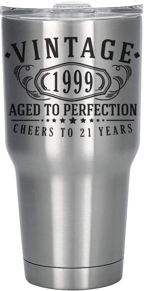 Vintage 1999 Etched 30oz Stainless Steel Insulated Vacuum Sealed Tumbler - 21st Birthday Aged to Perfection - 21 years old gifts