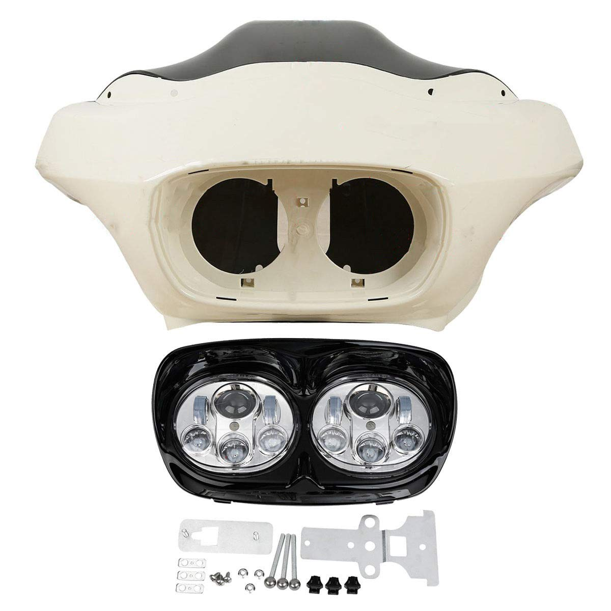 Unpainted+Black/&Chrome TCMT Inner Outer Fairing /& W//5.75 Dual LED Headlight Fit For Harley Road Glide 98-13