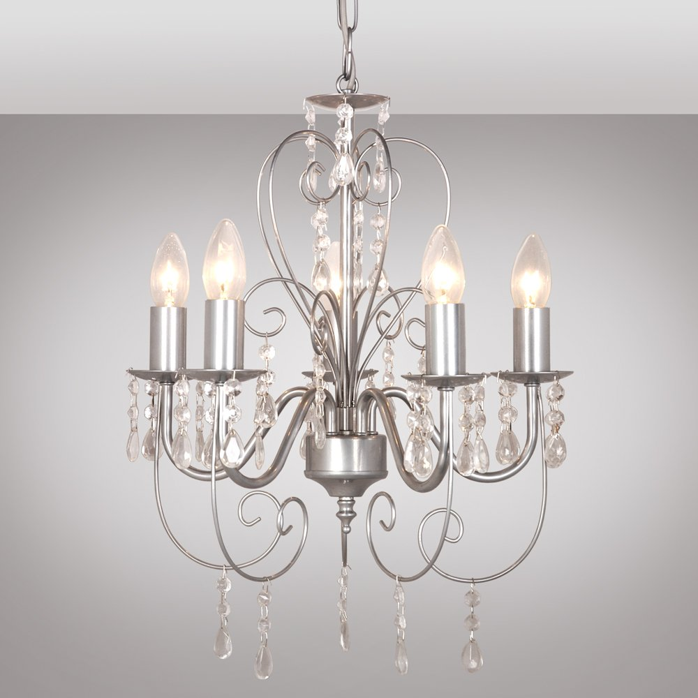 french style lighting. Traditional Grey Ornate Vintage Style Shabby Chic 5 Way Ceiling Light Chandelier With Beautiful Acrylic Jewels: Amazon.co.uk: Lighting French N