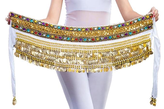 150 cm Qualitex franela Danza del Vientre cadera Toalla con 248 pieza Color monedas de oro, ropa de baile ...