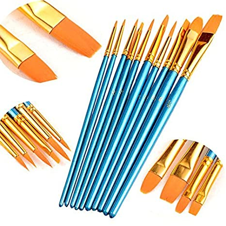 COMIART 10 Piece Art Paint Brush for Watercolor, Oil, Acrylic Paint Craft Nail Face Painting SCS00092