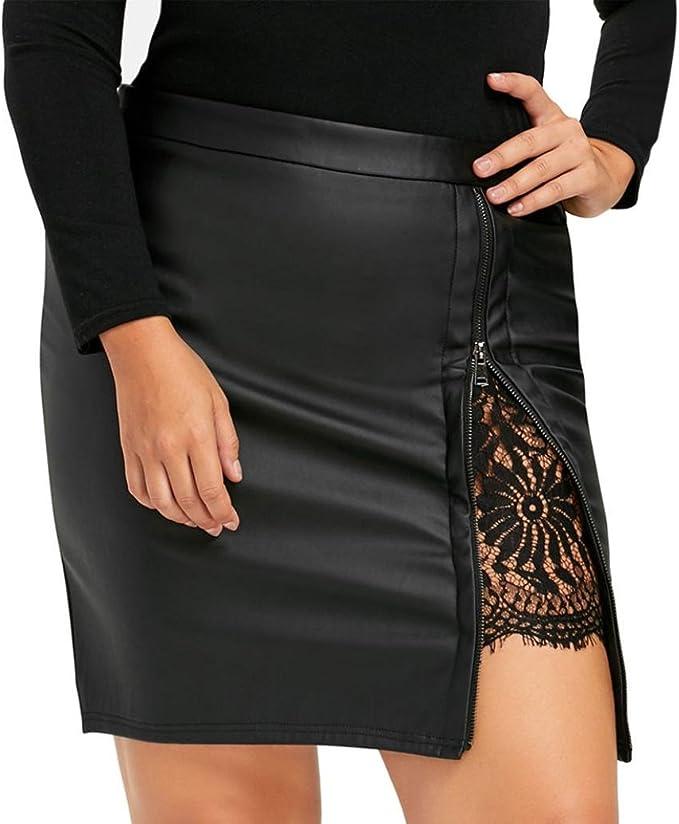 Sannysis Faldas Mujer Moda del Vendaje Gamuza Faldas Cortas ...