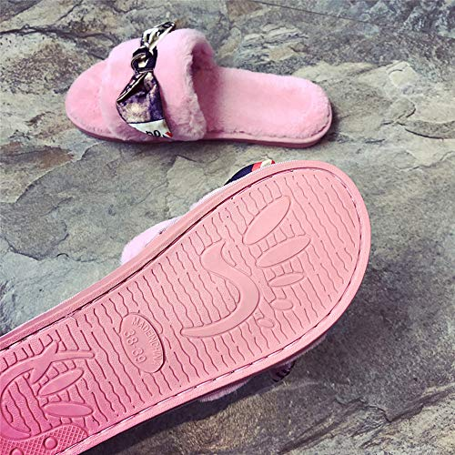Slip Faux Slippers Flop Flip Slippers Sliders On Sale Flat Farjing Women For Pink Sandals Clearance Fur Fluffy wz1q6Xzr