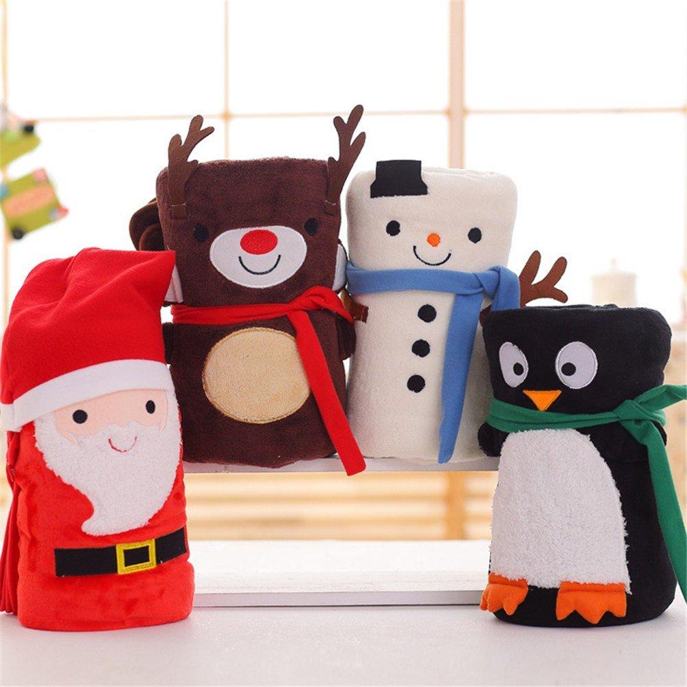 Cute cartoon santa Snowman Elk Hair Blanket office Christmas siesta Blanket Gift,Penguin 80x100cm