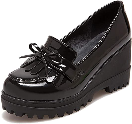 Womens Ladies Slip On Bow Toe Smart Real Leather Western Low Heel Office Shoes