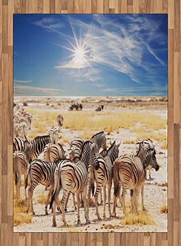 Africa Area Rug by Ambesonne, Zebras in Savannah Desert Waterhole on Hot Day Africa Safari Adventure Land Print, Flat Woven Accent Rug for Living Room Bedroom Dining Room, 5.2 x 7.5 FT, Multicolor by Ambesonne