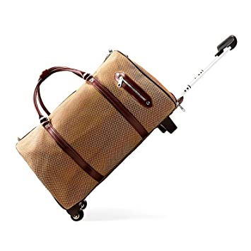 07a0f5887 Amazon.com | Tiannuofa Rolling Travel Luggage PU Leather Weekend|Overnight Wheeled  Suitcase Duffel Bag with Wheels|Waterproof Trolley Bag Luggage (Brown) ...