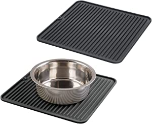 mDesign Premium Quality Square Pet Food and Water Bowl Feeding Mat for Dogs and Puppies - Waterproof Non-Slip Durable Silicone Placemat - Food Safe, Non-Toxic - Medium, 2 Pack - Black