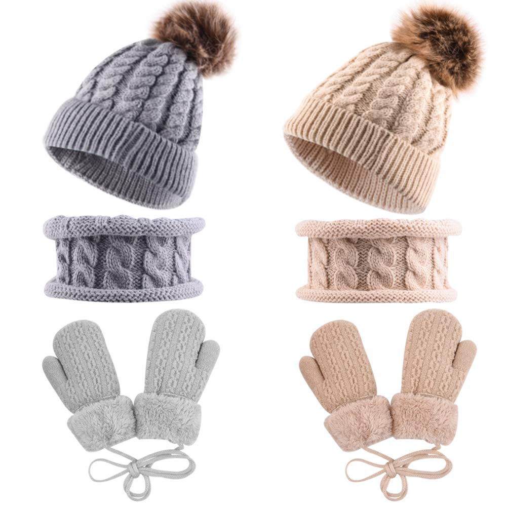4 Years WXJ13 2 Sets Baby Hat Scarf and Gloves Set Winter Warm Knitted Hat and Neck Warmer Thick Fluffy Lined Mittens Gloves Beanie Pompom Hat for Baby Toddler Kids Girls Boys 6 Months
