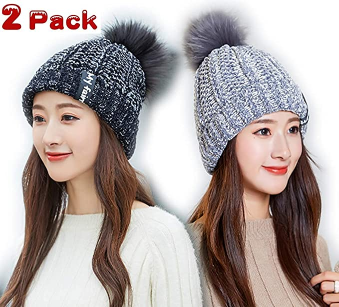 2 Pack Pom Beanie Christmas Slouchy Winter Hat Womens Girls Snowboarding Ski  Cap Gift Sets ( d6e3143980d