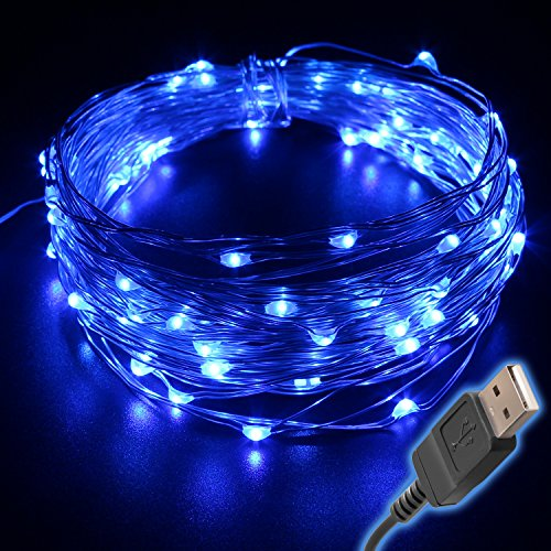 BrightTouch 100 Fairy String LED Lights Indoor/Outdoor, Waterproof, Flexible Copper Wire with USB 33'/10 m, Blue