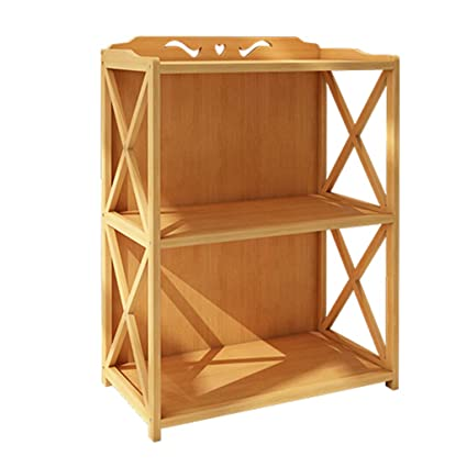 2 Tiers Bookshelf Bamboo Bookcase Free Standing Living Room Hallway Storage Unit Display Holder Cabinet Partition