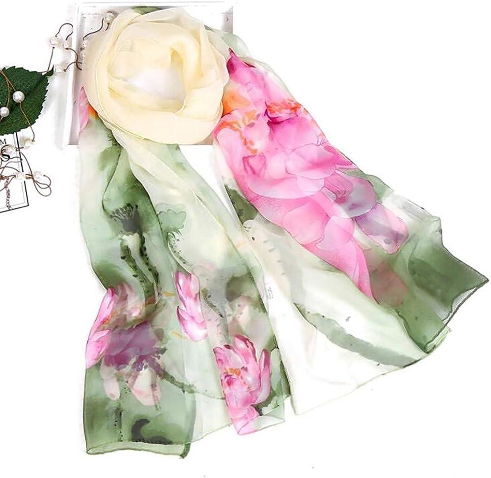 CAOQAO Mode Damen Lotus Druck lange weiche Wrap Schal Damen Schal Schals Chinesischer Stil