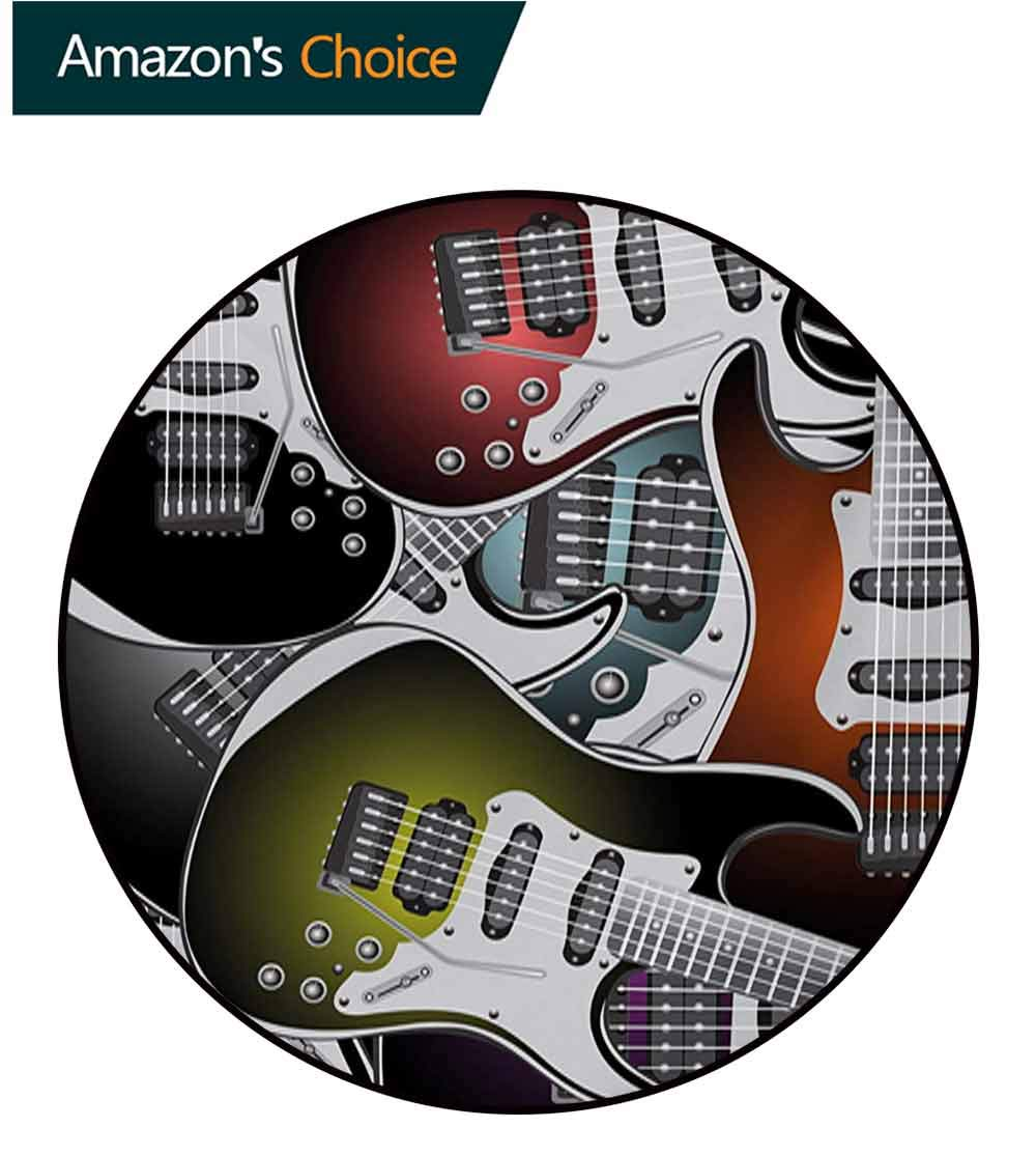 Popstar Party Art Deco Pattern Non-Slip Backing Machine Washable Round Area Rug,Pile of Graphic Colorful Electric Guitars Rock Music Stringed Instruments Floor Mat Home Decor,Diameter-47 Inch