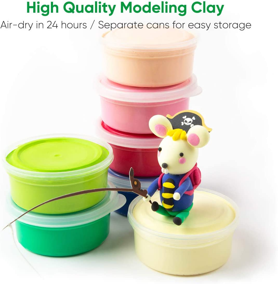 Happy Time Robud Theme Clay Modeling Dough with Tool Sets,3D Wooden Colorful Clay Puzzle,No-Toxic Ultra Light Air-Dry Moulding Craft Clay,12 Cans Molding Magic Clay,DIY Crafts Clay Set,Best Gift