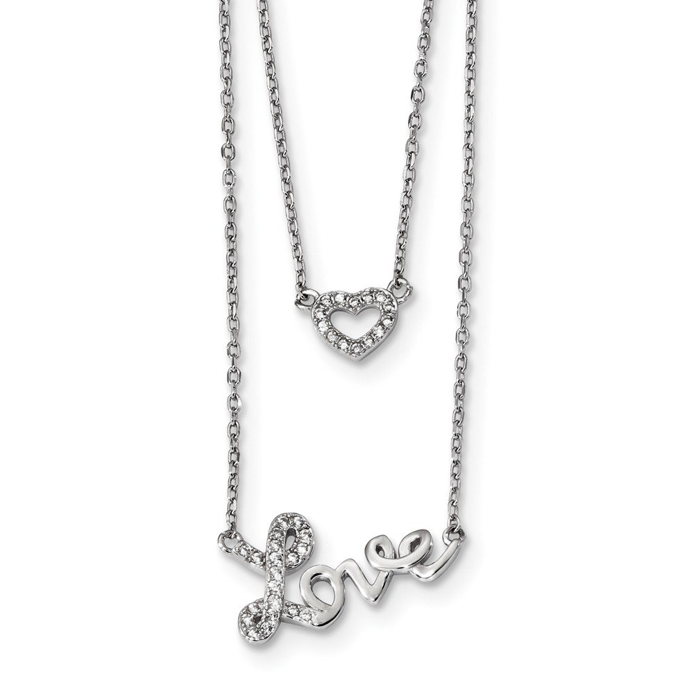 2 Rings necklace zircon Love 925 silver rhodinated or rover-gold
