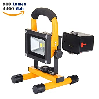 10w work light loftek portable led outdoor flood light and detachable 4400mah battery charger