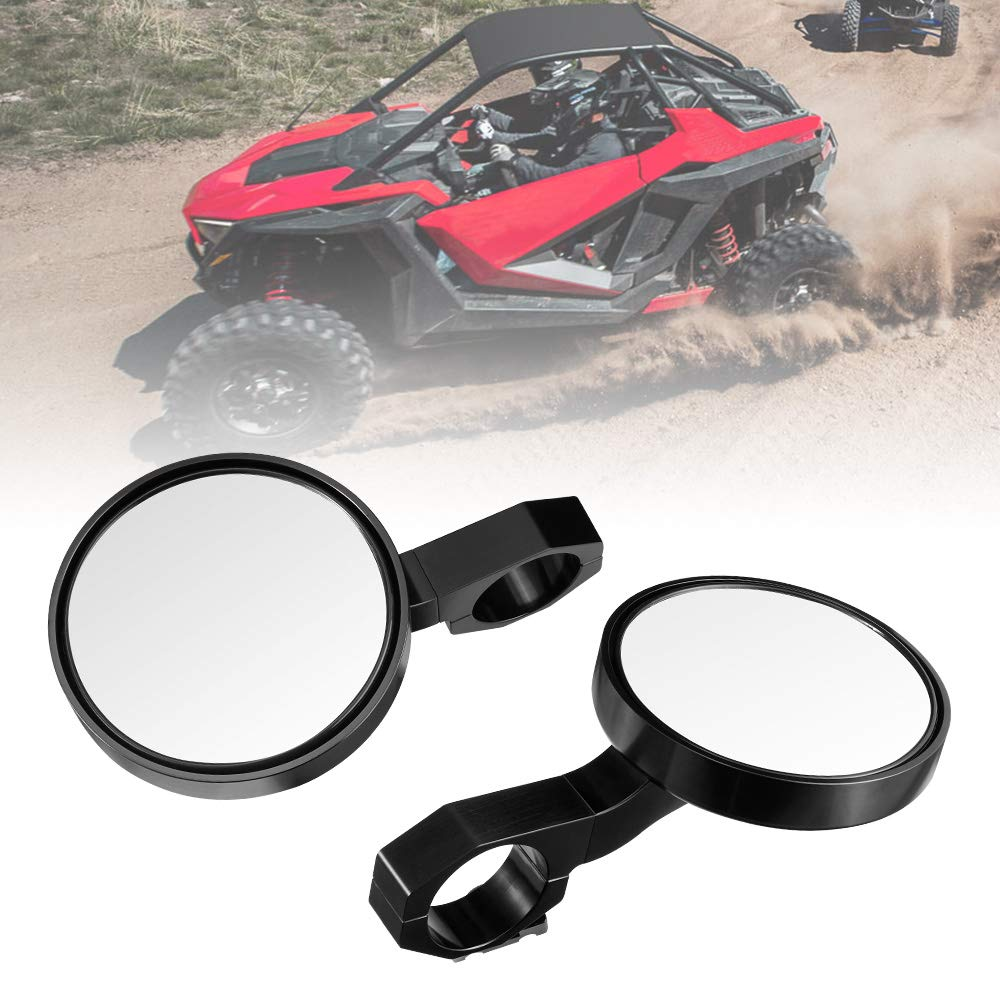 KEMIMOTO 1 Pair Aluminium Alloy UTV Side View Mirror for RZR Mirror Break Away with Ball Universal Joint High Impact Shatter-Proof Tempered Glass