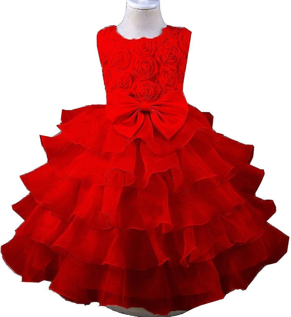 Little/Big Girls 3D Rose Petal Layered Ruffles Pageant Birthday Party Dress
