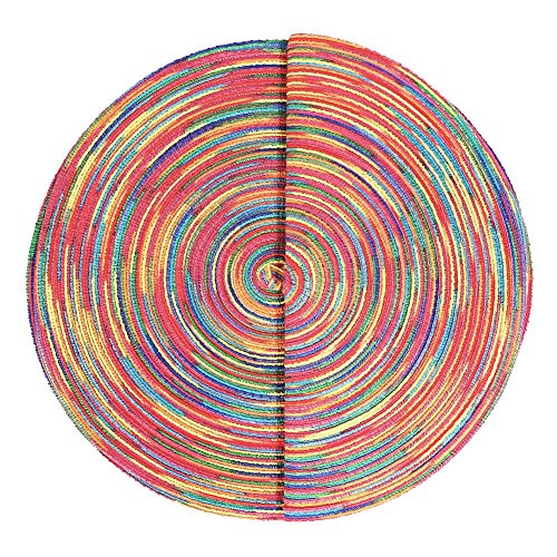 Woven Braided Colorful Round Placemats Heat Resistant Dining Table Mats Non-slip Washable Place Mats Set of 6 by DOZZZ (Image #2)