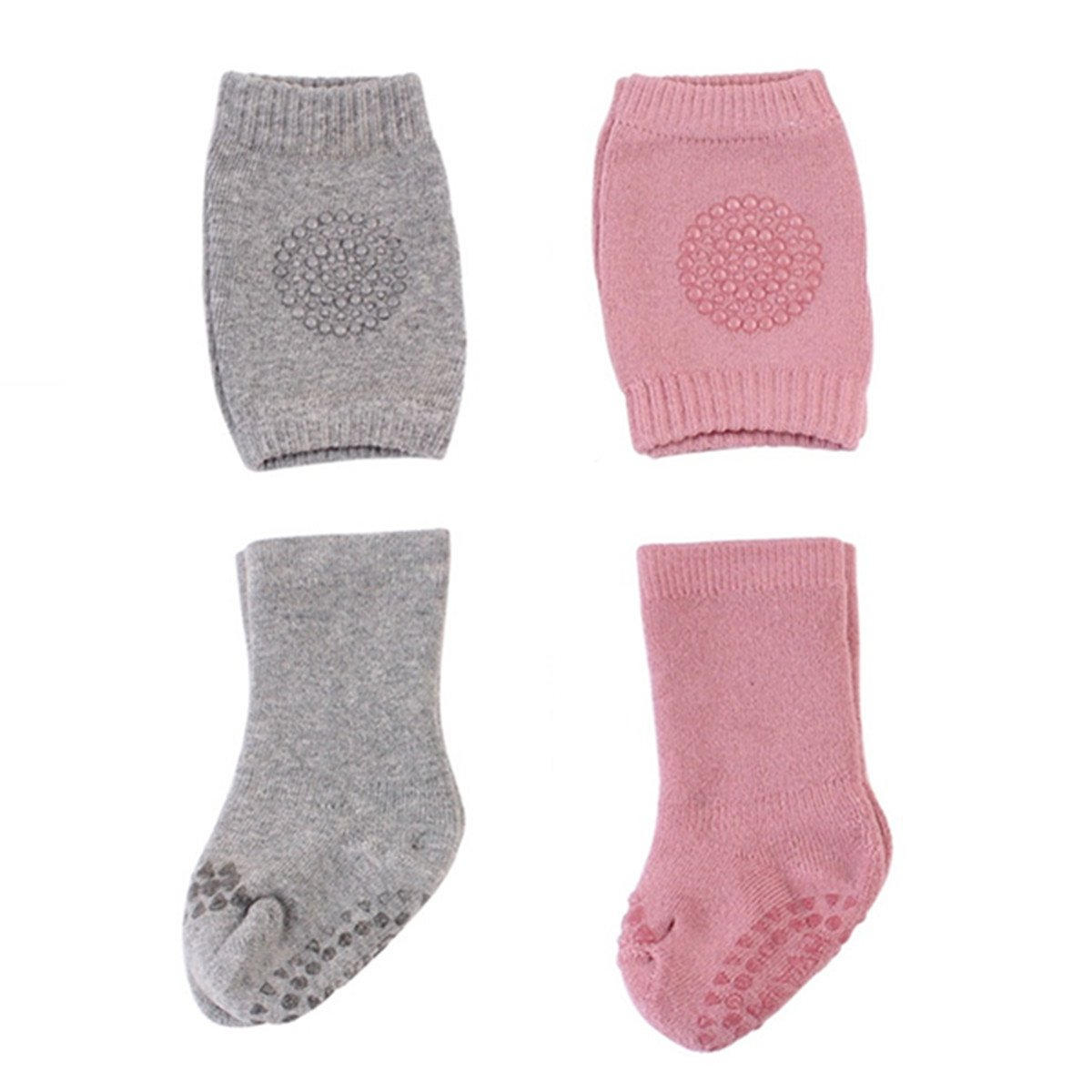 2-Pack Toddler Baby Crawling Knee Pads Non-slip Leg Warmer Protector With Socks