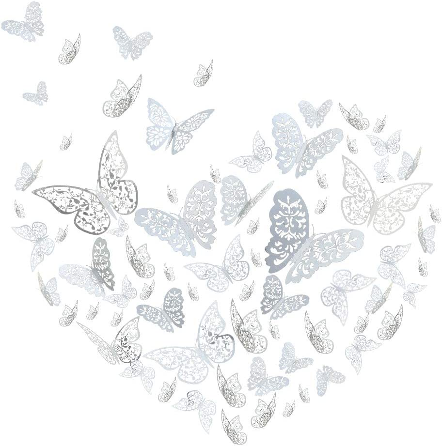 YOYOSO 72 Pcs Butterfly Wall Decor Sticker Wall Decal 3D Hollow Butterflies Removable Mural DIY Art Decal Wall Stickers for Home Decorations Kids and Girl Living Room Bedroom (3A)