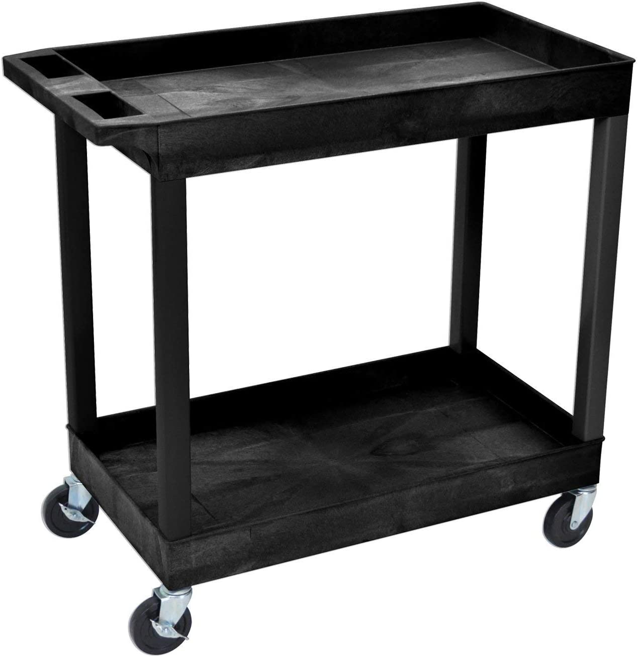 Offex 18 x 32 Inch Heavy Duty Utility Tub Cart with 2 Shelves, Black