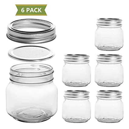 cd6d1ffa51e1 SXUDA Mason Jars 8 oz with Regular Silver Lids and Bands Regular Mouth  Canning Jars Jelly Jar for Jam, Honey, Wedding Favors, Shower Favors, Baby  ...