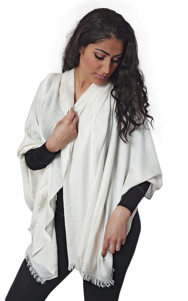 Batoolz Soft Viscose Cotton Solid Color Women Long Wrap Cover up Fashion Scarf Hijab - White