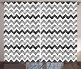 Ambesonne Gray Curtains Chevron, Striped Zigzag on Rustic Wooden Planks Design Monochrome Artsy Print Drapes and Curtains for Living Room Bedroom Window Decor 108 X 84 inches 2 Panel Set Grey White Review