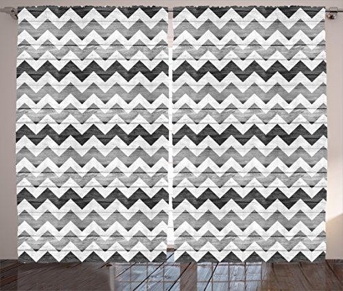 Ambesonne Gray Curtains Chevron, Striped Zigzag Pattern on Rustic Wooden Planks Design Monochrome Artsy Print, Living Room Bedroom Decor, 108 W X 90 L inches, 2 Panel Set, Grey White