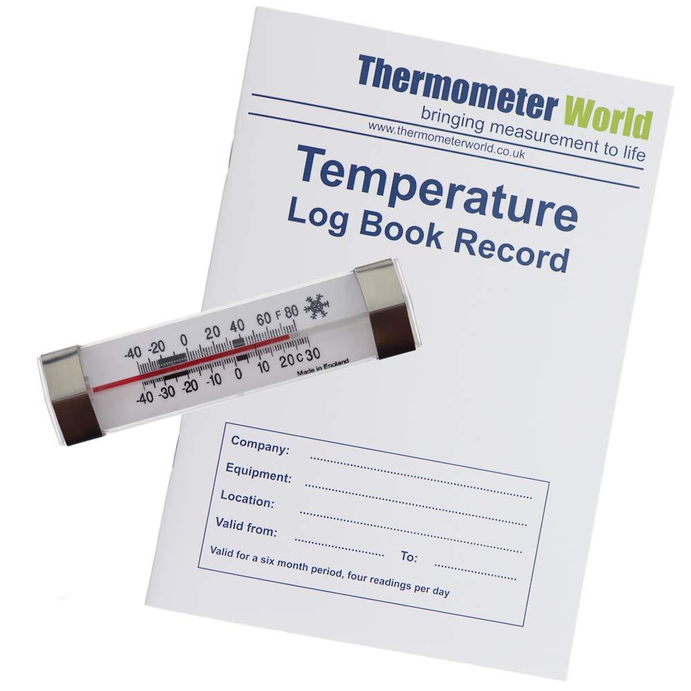 Libro de registro de temperatura con termómetro para nevera y ...