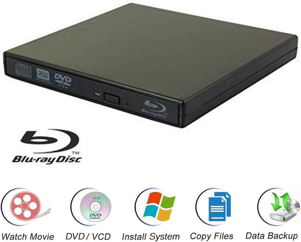 ROM,DVD//CD-RW//ROM Writer,for All System 98SE ME 2000 XP Vista Win7 for Apple Mac Macbook Pro// Air iMac External Blu-ray Drives,Ploveyy USB 2.0 BD
