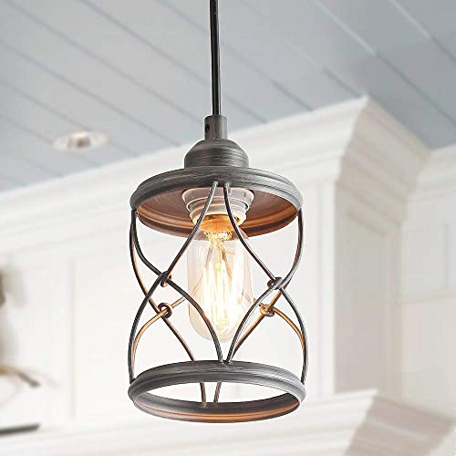 LALUZ Industrial Mini Pendant Lighting for Farmhouse Kitchen Island Foyer Hanging Fixture, 4.75 Inches, Silver Brushed
