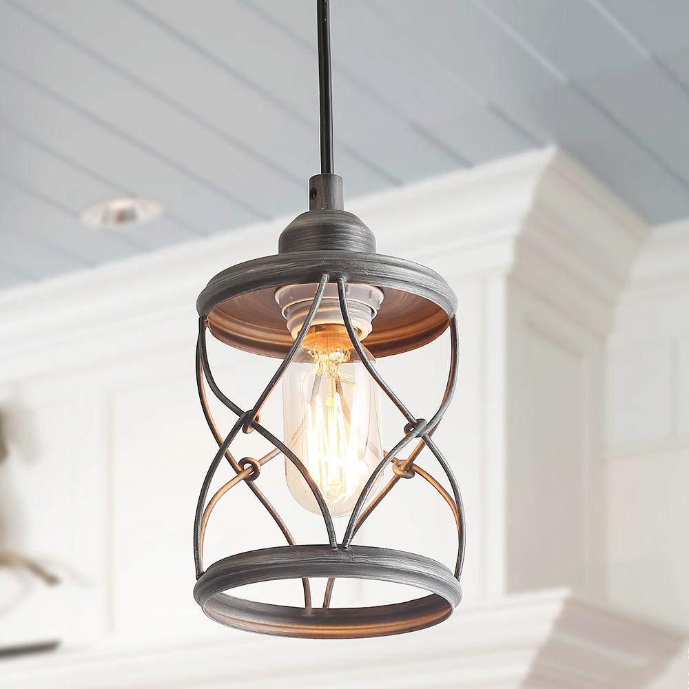 LALUZ Industrial Mini Pendant Lighting, Farmhouse Kitchen Island Lights, Silver Brushed