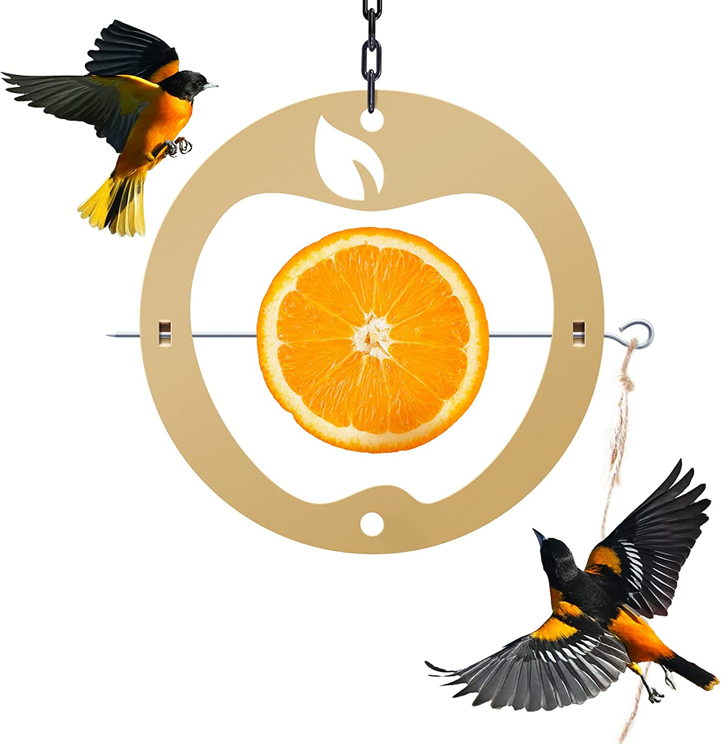 TopWoot Creative Oriole Bird Feeder for Outdoor Oranges, Bird Food Holder with Apple Shape for Bird Feeding, Hanging Chain & Spike Included, Perfect for Window, Balcony, Porch, Tree (Gold)