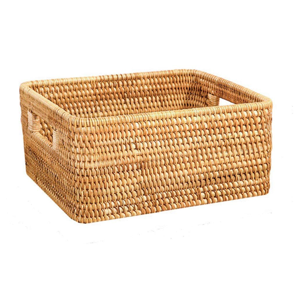 A Rattan Handmade Storage Box Retro Simple Style Clothes Toy Storage Box - Lightweight and Easy to Move Three Styles to Choose from (color   B)