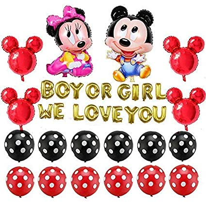 Mickey Mouse Party Supplies Decorations Boy Or Girl We Love You Red Black Yellow Polka Dot Balloons For Party Supplies Gender Reveal Baby