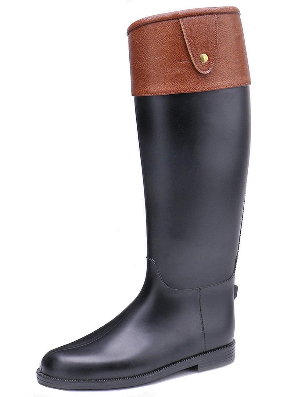 TONGPU Tall Knee-high PU Leather Wrap Rain Boot Zipper Style US 9