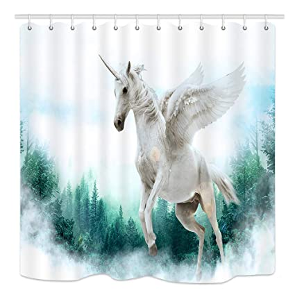 Unicorn Shower Curtain Fantasy Animals Horse Polyester Fabric Bathroom Curtains
