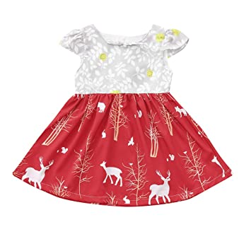 beautiful christmas sundress toddler kids baby girl short sleeve deer floral princess dress party dress