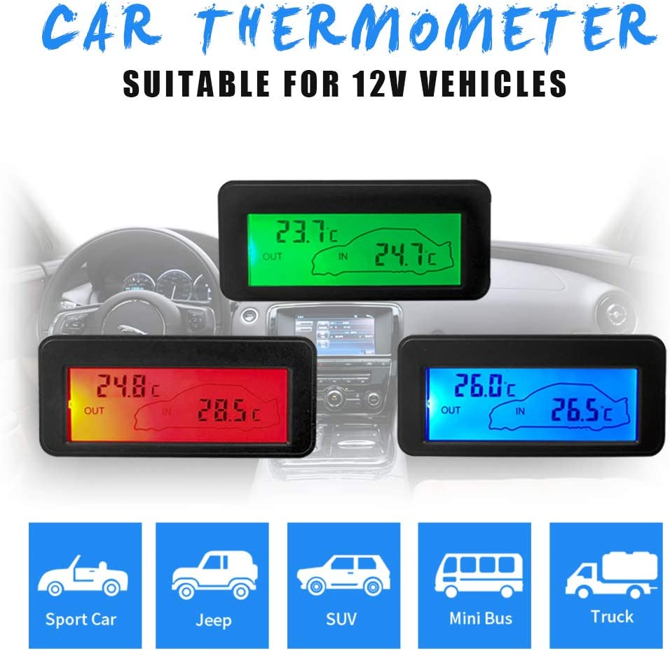 Prosperveil Thermom/ètre num/érique pour Voiture Affichage LCD Int/érieur//ext/érieur avec c/âble de capteur 1,5 m pour v/éhicules de Voiture 12 V