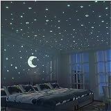 夜光テッカー(4セット) 蓄光 星 月 蓄光シール 部屋におしゃれ 天丼/壁/子供部屋用
