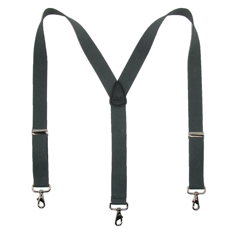 CTM Men's Big & Tall Elastic Solid Color Y-Back Suspender with Swivel Hook Ends