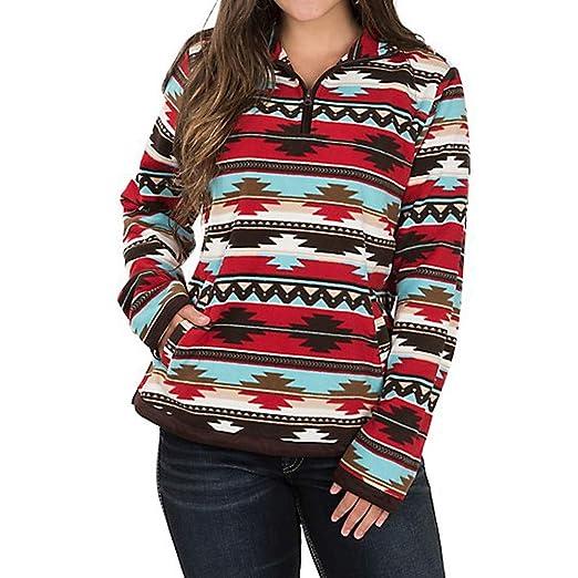 f43f32fa59d4e Amazon.com  IEason Women top Plus Size Women s Long Sleeve African Geometric  Print Zipper Pocket T-Shirt Tops  Clothing