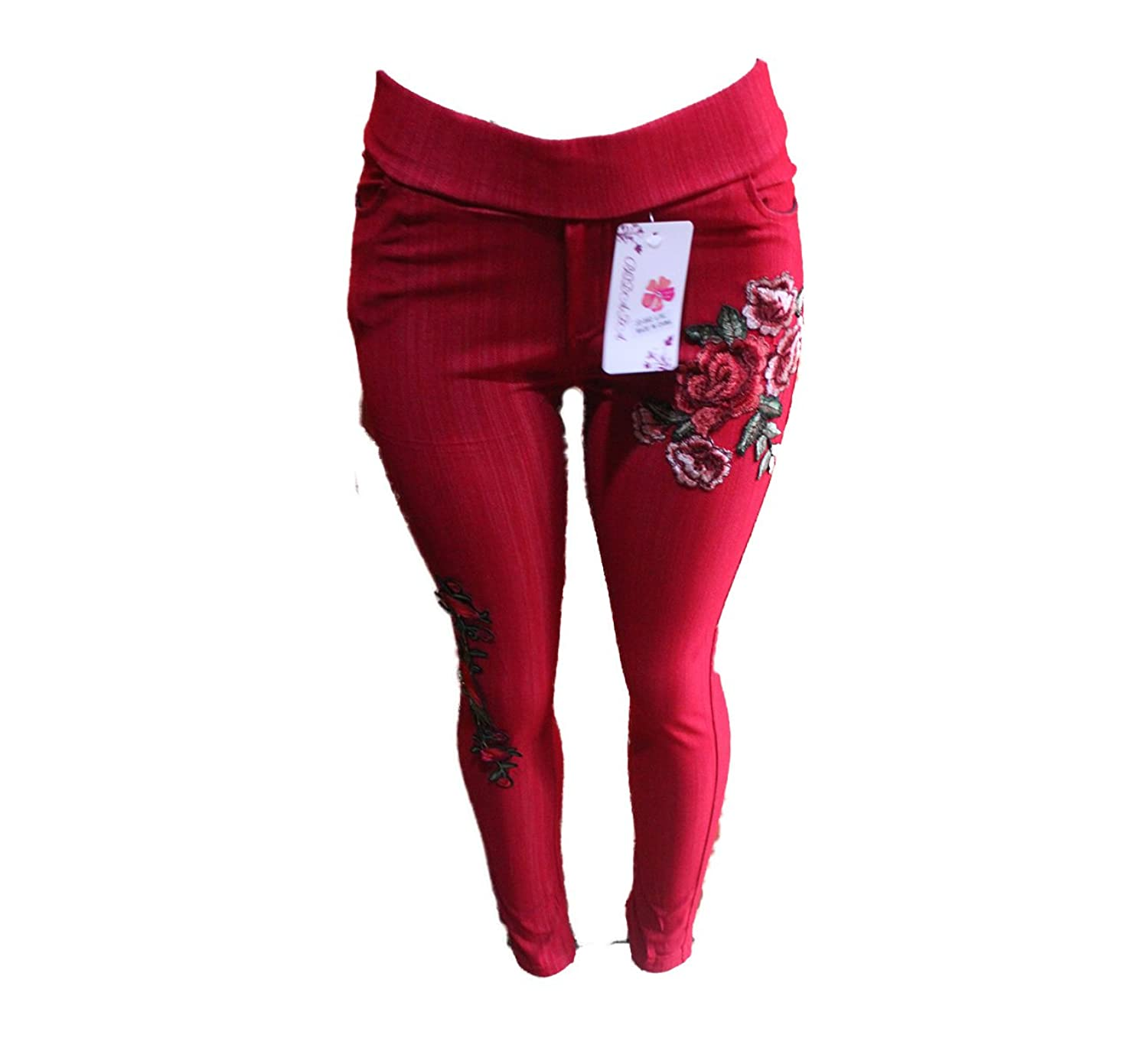 Cheap BCA fashion New Stretch Red Color Flower Embroided High Waist Jegging Pants-SM/LXL